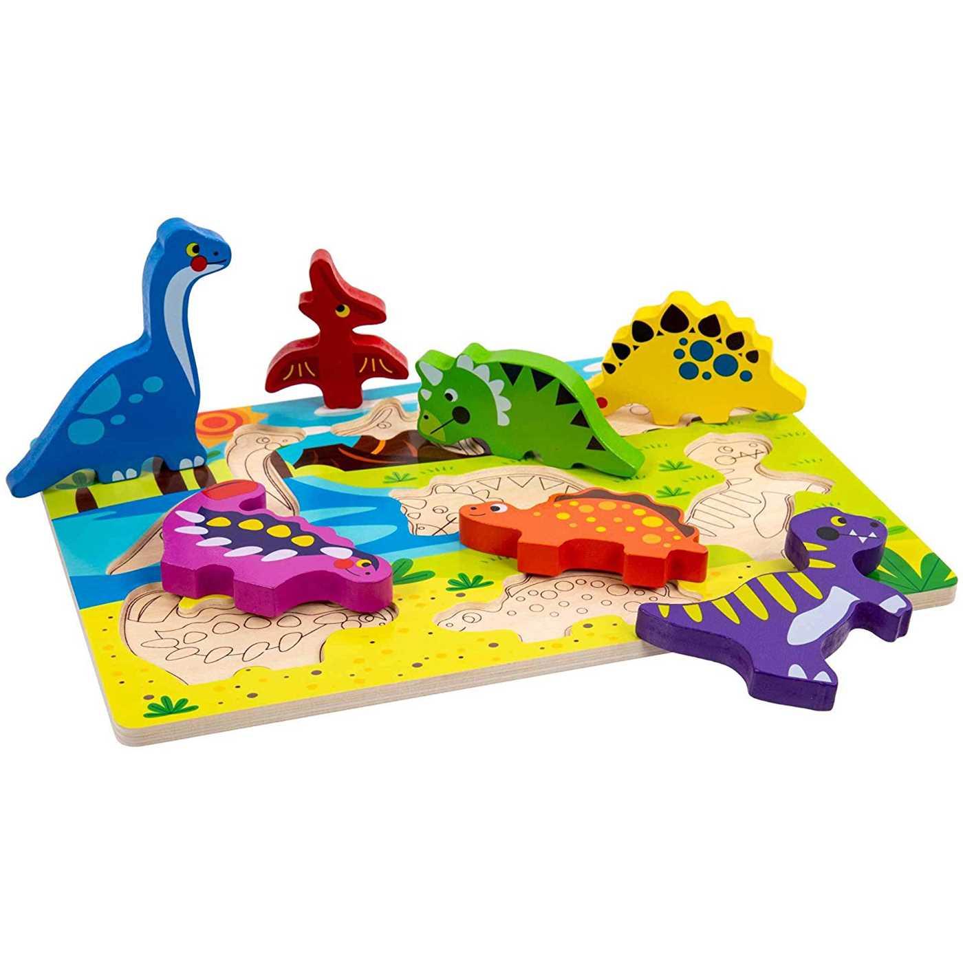 Tabuleiro encaixe em madeira - Dinossauros