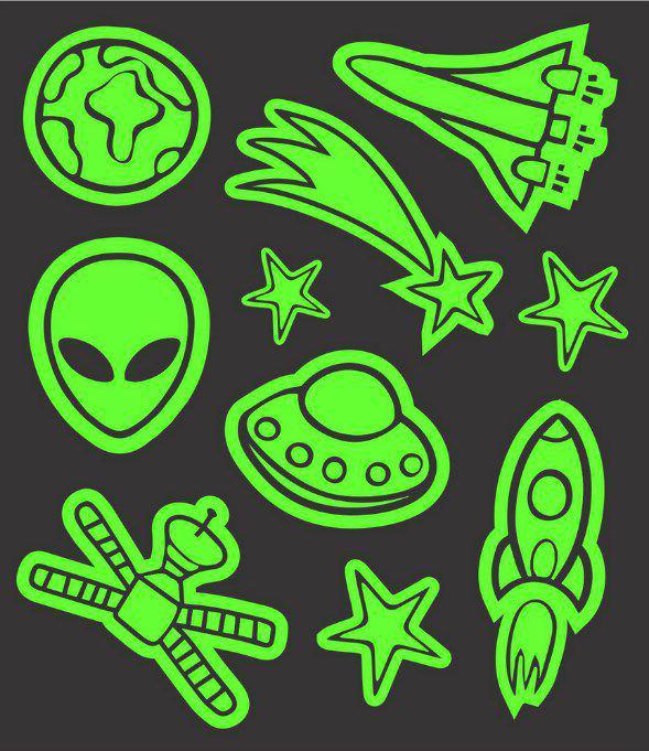 Tatuagem Temporária Espaço/Aliens - Brilha no Escuro