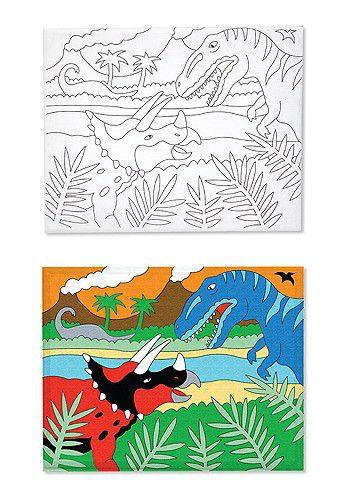 Tela para Pintura com tintas- Dinossauros