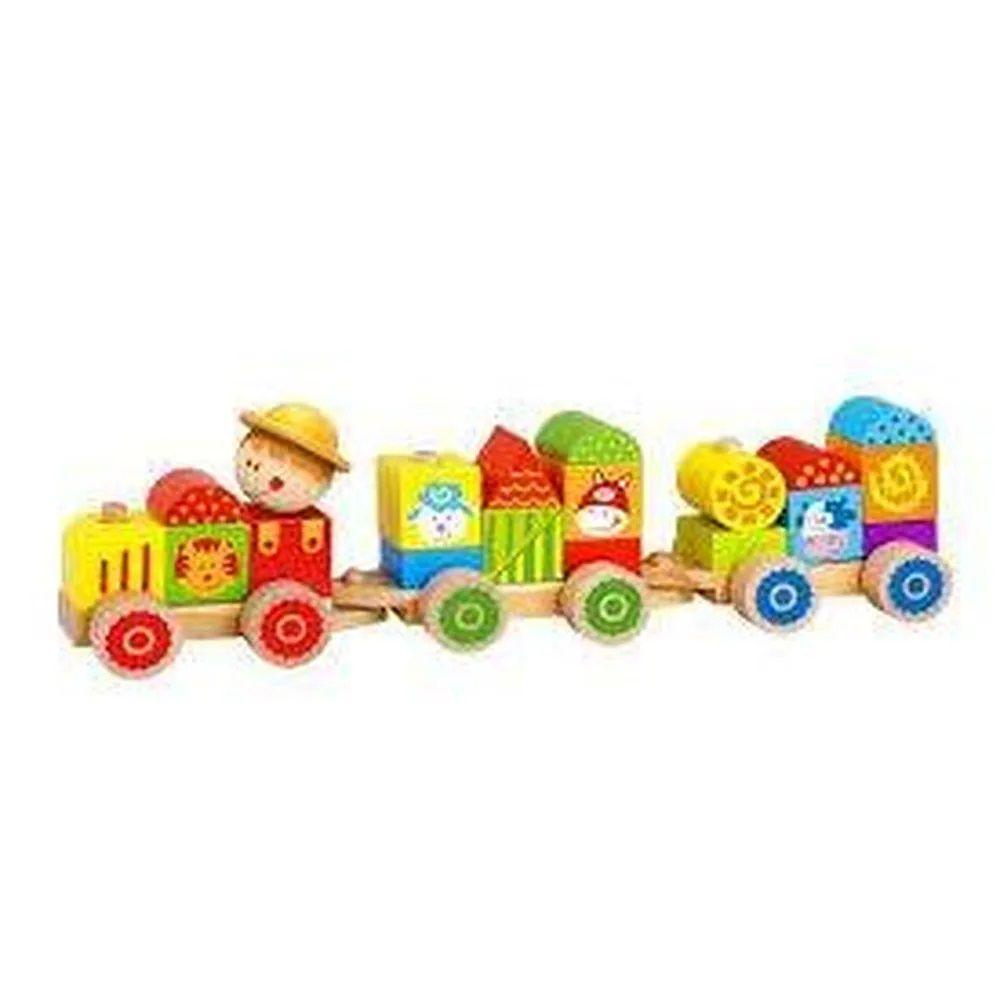 Trem de Madeira com Blocos de Encaixe Fazenda- Tooky Toy