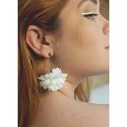 Brinco Flor Hortênsia Branca