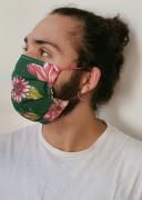 Máscara Floral Verde Musgo