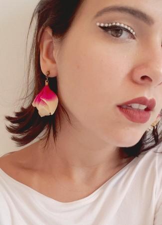 Brinco Flor Astromélia Rosa com Branco