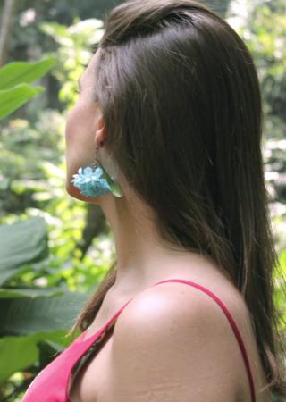 Brinco Flor Hortênsia Azul