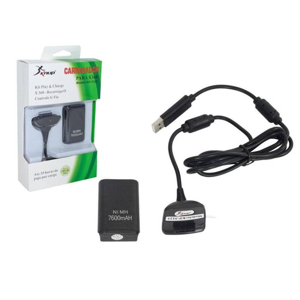 BATERIA CONTROLE XBOX 360 PLAY AND CHARGER LJQ-8360
