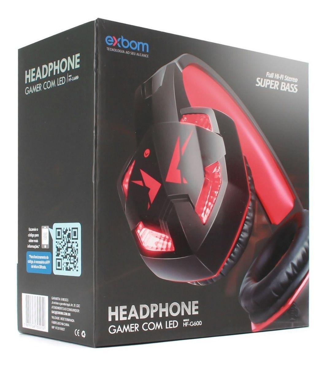 HEADPHONE GAMER COM LED HF-G600 EXBOM