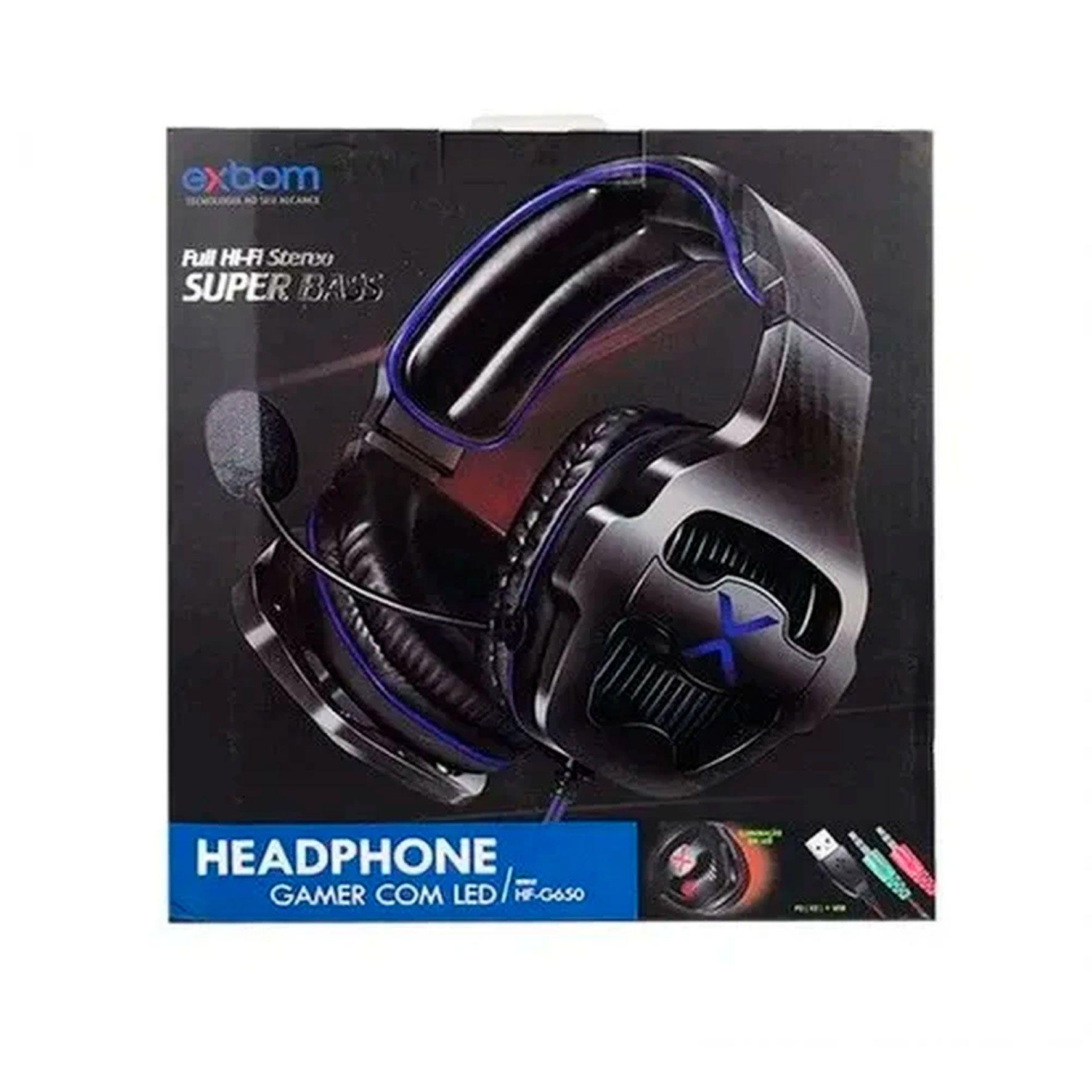 HEADPHONE GAMER COM LED HF-G650 EXBOM