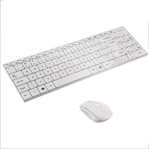 Kit Teclado e Mouse sem Fio Branco Slim TC203