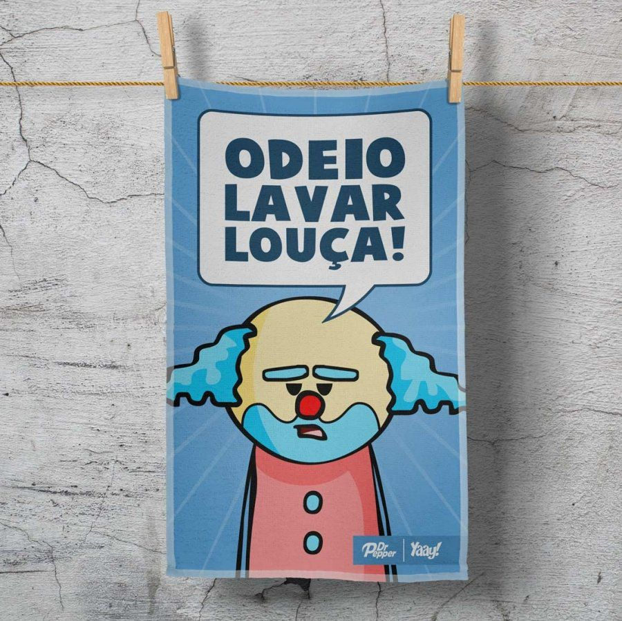Pano de Prato DrPepper Paiaço Odeio Lavar Louça