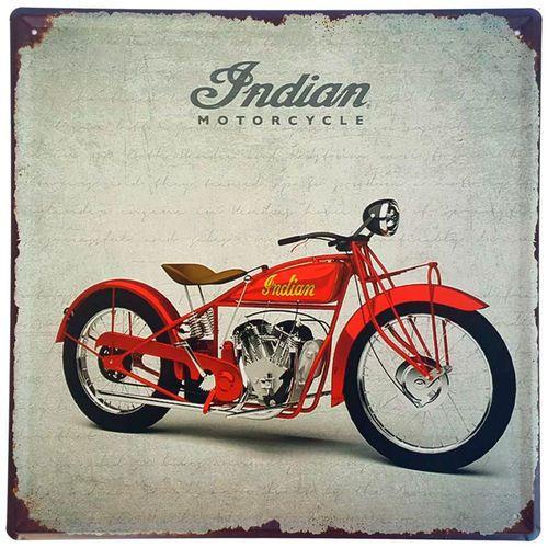 Placa de Metal Decorativa Indian Motorcycle - 30 x 30 cm