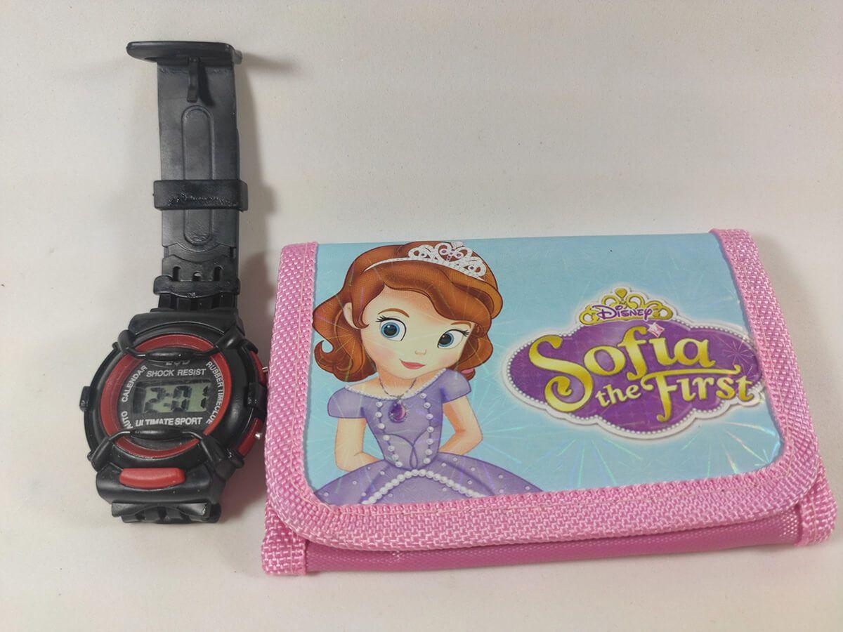 Relógio infantil e Carteira Meninas