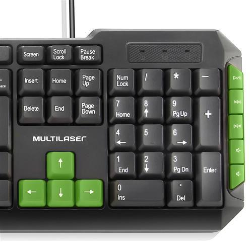 Teclado gamer verde USB TC201 Multilaser