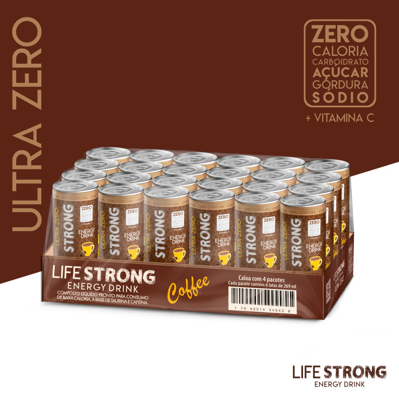 ENERGÉTICO LIFE STRONG - ULTRA ZERO - COFFEE - PACK COM 24