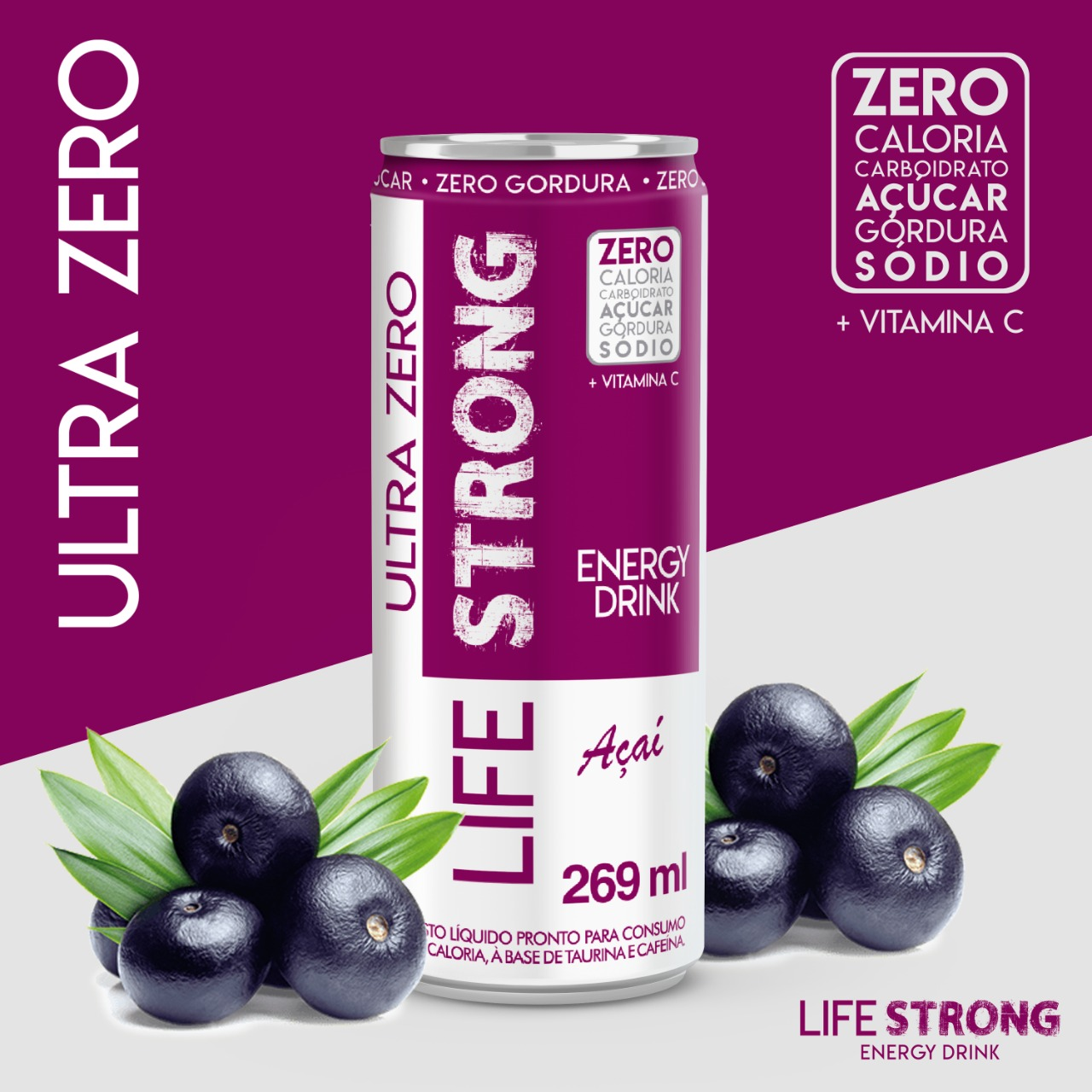 LIFE STRONG ENERGY DRINK ULTRA ZERO - AÇAÍ - PACK COM 24