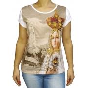Baby Look Nossa Senhora de Fatima Coroa Bordada