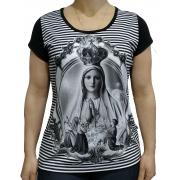 Blusa de Viscolycra Nossa Senhora de Fatima Listrada
