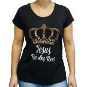 Blusa de Viscolycra Strass Coroa Dourada Preto