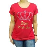 Blusa de Viscolycra Strass Coroa Prata Vermelho