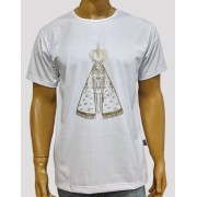 Camiseta Aparecida Dourada Branca