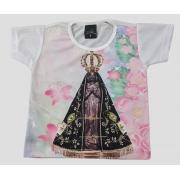 Camiseta Infantil Nossa Senhora Aparecida Floral Rosa