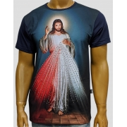 Camiseta Jesus Misericordioso Marinho Bordada