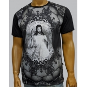 Camiseta Jesus Misericordioso Moldura Preto