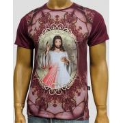 Camiseta Jesus Misericordioso Moldura Vinho