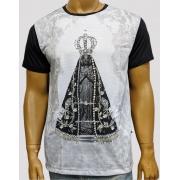 Camiseta Nossa Senhora Aparecida Mono Preta Bordada