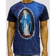 Camiseta Nossa Senhora das Graças Marinho Bordada