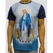 Camiseta Nossa Senhora das Graças Medalha Azul Nova