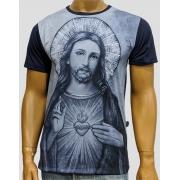 Camiseta Sagrado Coração de Jesus Azul