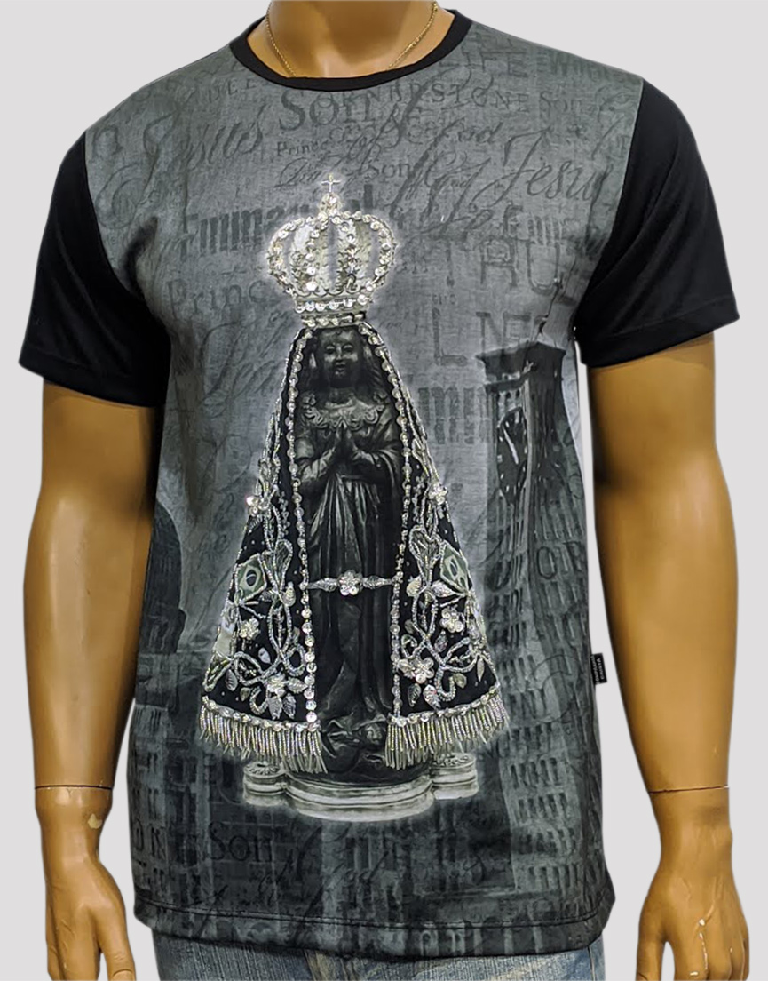Camiseta Aparecida Jubileu Preta Bordada