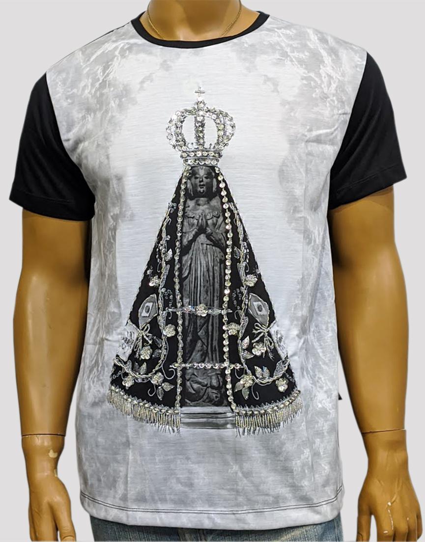 Camiseta Aparecida Mono Preta Bordada