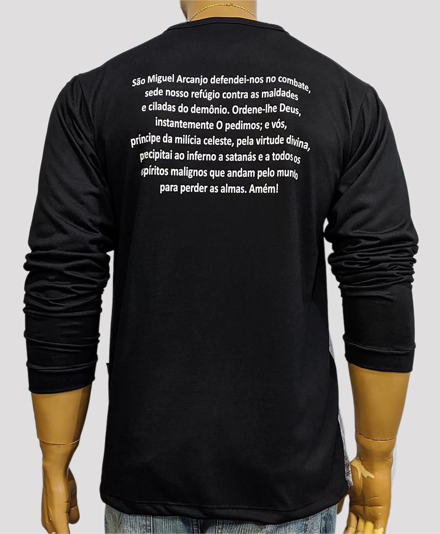 Camiseta de Manga Longa São Miguel Arcanjo Novo Preto