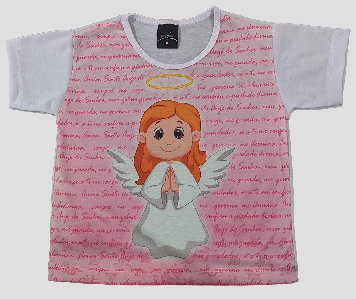 Camiseta Infantil Anjinha Rosa