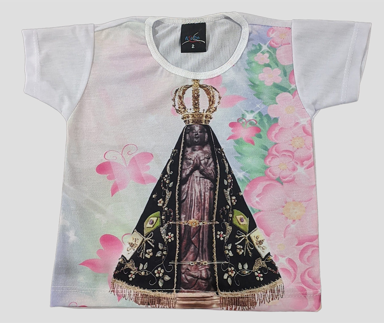 Camiseta Infantil Aparecida Floral Rosa