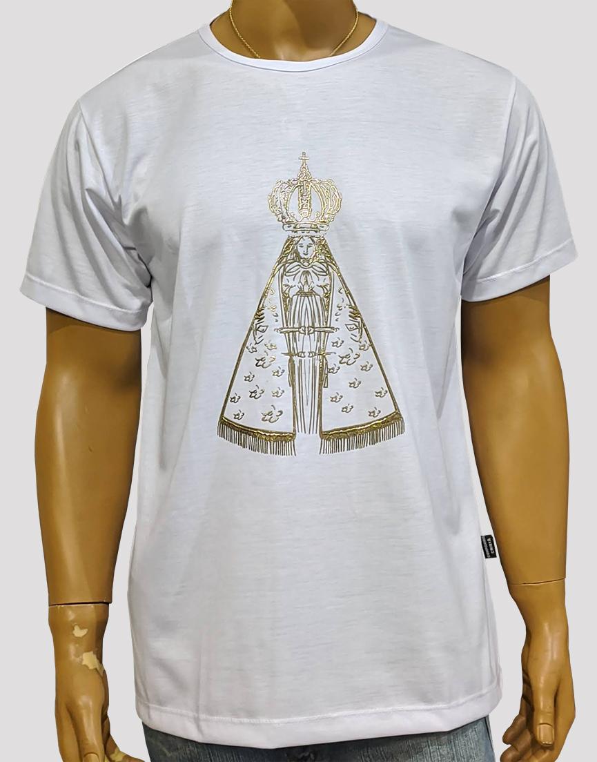 Camiseta Nossa Senhora Aparecida Dourada Branca