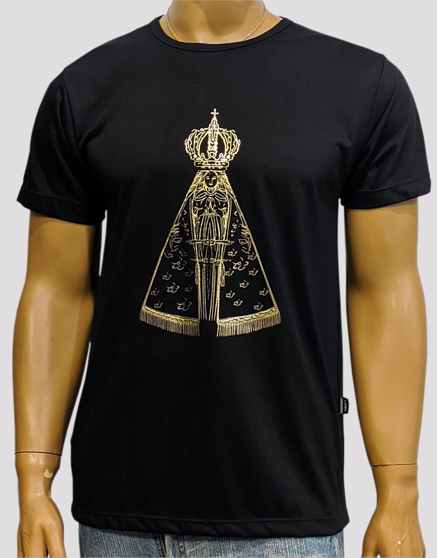 Camiseta Nossa Senhora Aparecida Dourada Preta