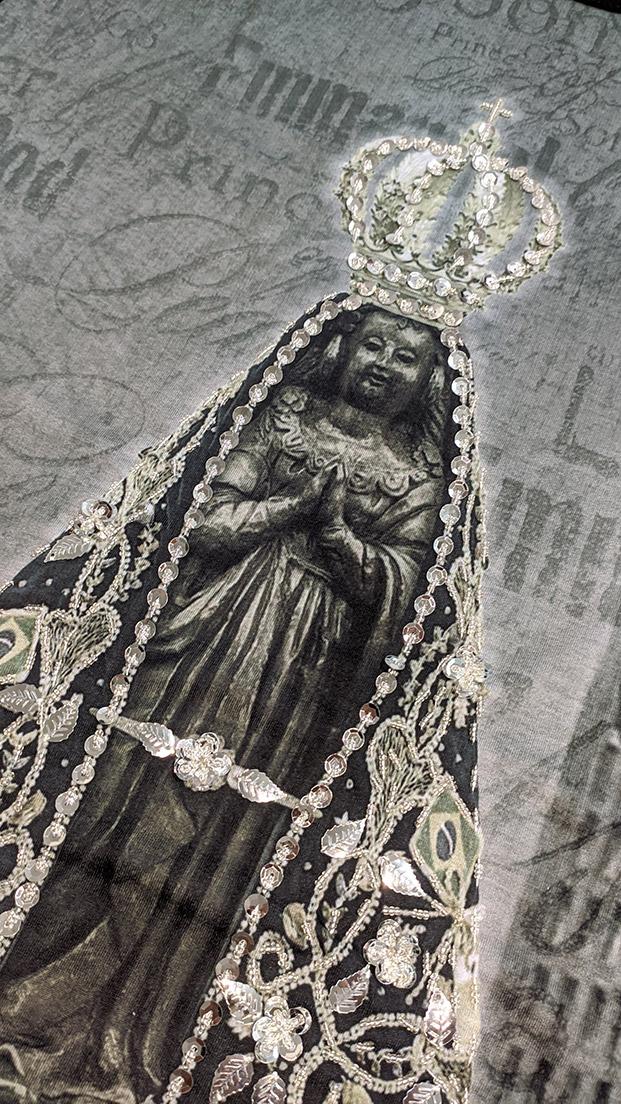 Camiseta Nossa Senhora Aparecida Jubileu Preta Bordada