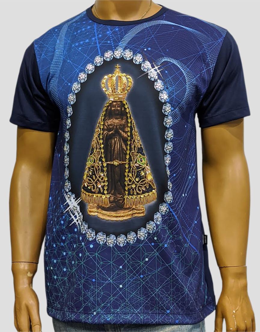 Camiseta Nossa Senhora Aparecida Marinho Bordada