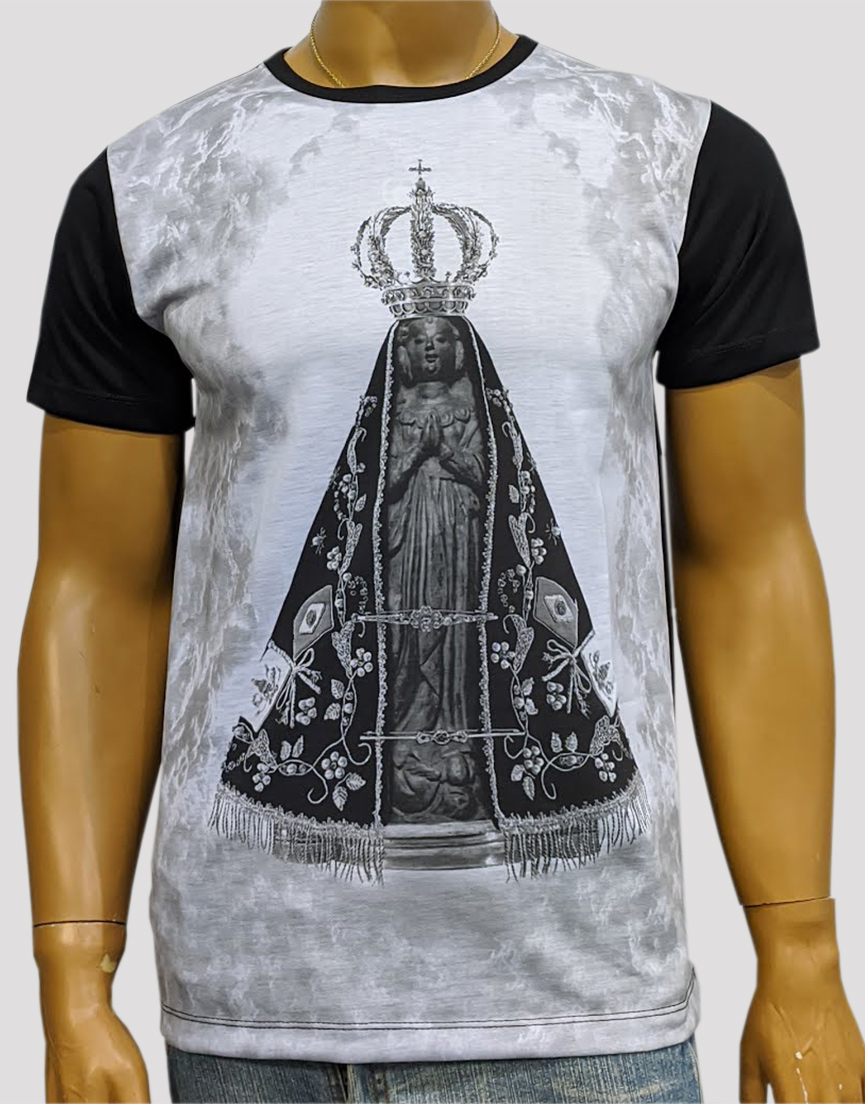 Camiseta Nossa Senhora Aparecida Mono Preta