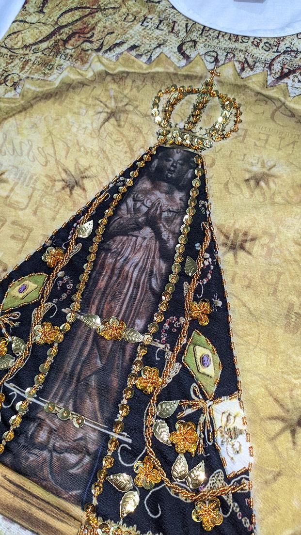 Camiseta Nossa Senhora Aparecida Nicho Nova Bordada