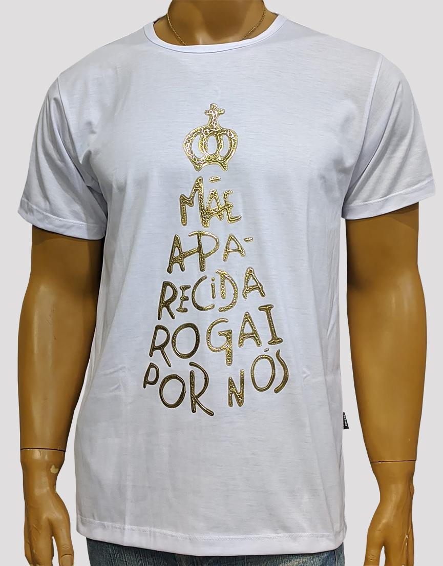 Camiseta Nossa Senhora Aparecida Rogai Por Nós Branca