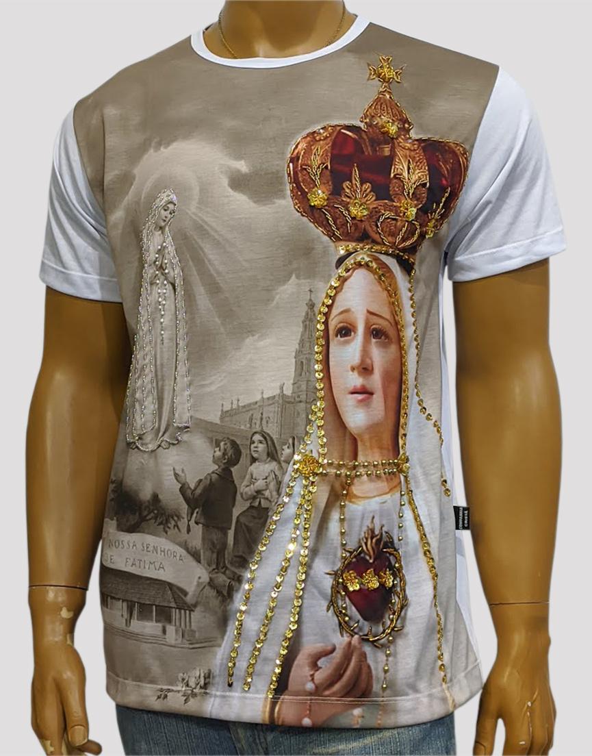 Camiseta Nossa Senhora de Fatima Coroa Bordada