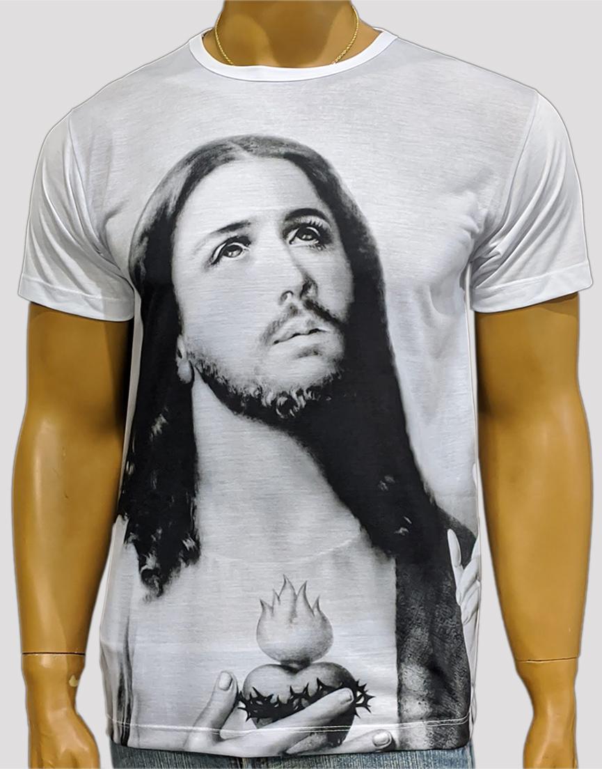Camiseta Puríssimo Coração de Jesus Mono Branca