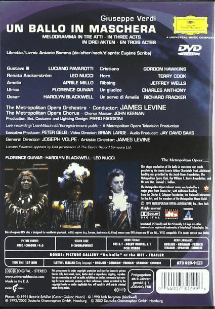 Giuseppe Verdi Un Ballo In Maschera DVD