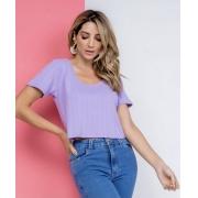 Blusa cropped malha maquinetada