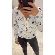Cardigan tricô curto pinguim