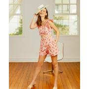 Conjunto de Cropped e Shorts Floral