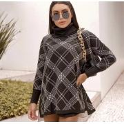 Poncho tricot xadrez